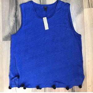 J. CREW Linen Pom-Pom Tank Blue Black Large
